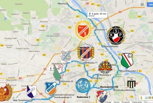 Mapa warszawy okiem soccertrip365